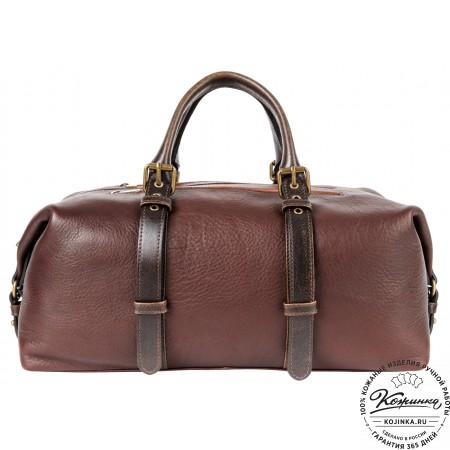 Кожаная дорожно-спортивная сумка Вашингтон (темно-коричневая)