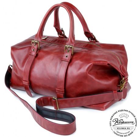 Кожаная дорожно-спортивная сумка Вашингтон (вишня)
