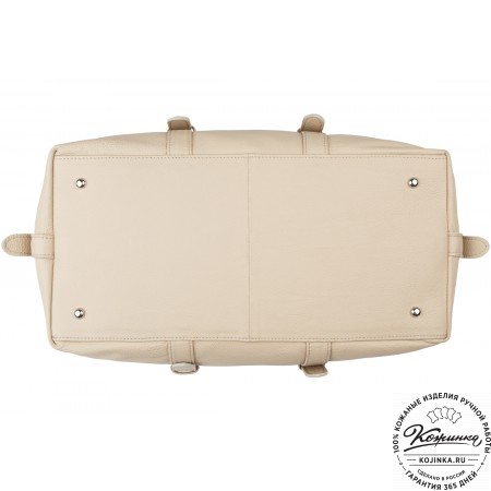 Кожаная дорожно-спортивная сумка Вашингтон (бежевая)