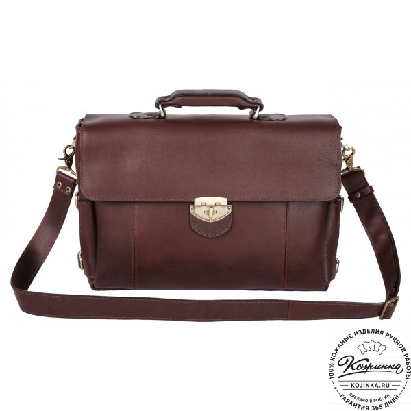 """Кожаный деловой портфель """"Дарвин"""" (коричневый). фото 1"""