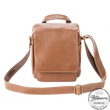 """Кожаная сумка через плечо """"Шерлок"""" (коричневая)"""
