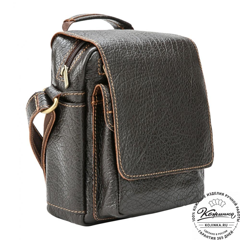 """Кожаная сумка через плечо """"Шерлок"""" (тёмно-коричневая)"""