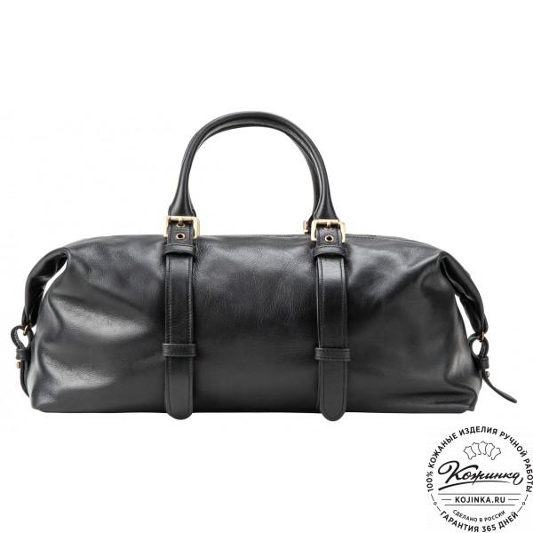 Кожаная дорожно-спортивная сумка Вашингтон (чёрная). фото 1