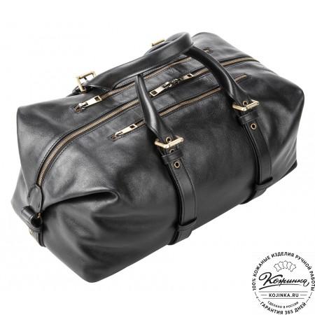 Кожаная дорожно-спортивная сумка Вашингтон (чёрная)