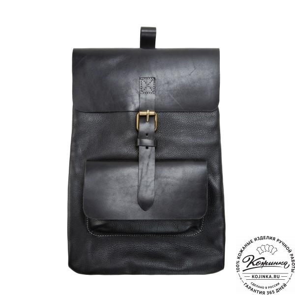"""Кожаный рюкзак """"Gray"""" (черный). фото 1"""