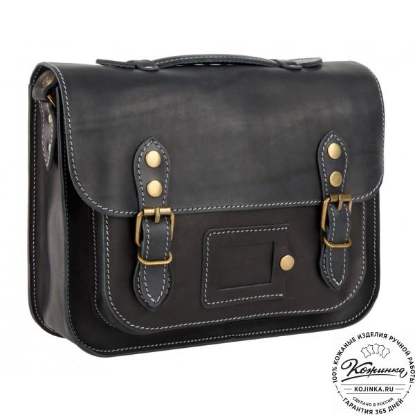 """Кожаный портфель """"Сатчел""""  (чёрный). фото 1"""