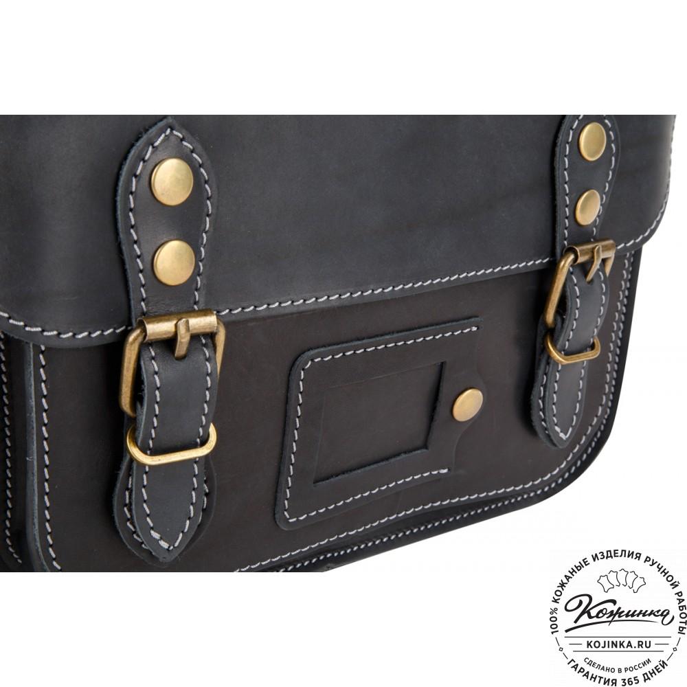 """Кожаный портфель """"Сатчел""""  (чёрный)"""