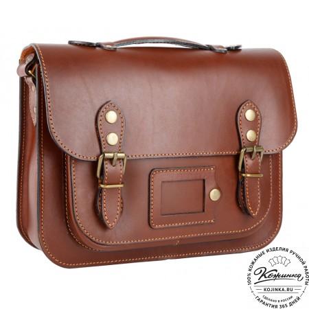 """Кожаный портфель """"Сатчел""""  (коричневый)"""