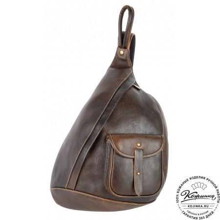 """Кожаный рюкзак """"Эль-Пасо"""" c карманом (коричневый эксклюзив)"""