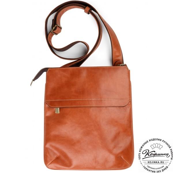 "Кожаная сумка ""Говард"" (рыжая). фото 1"