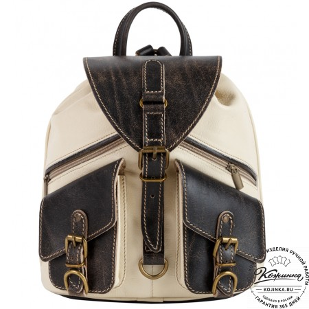 """Кожаный рюкзак """"Пилот"""" (белый с коричневым)"""