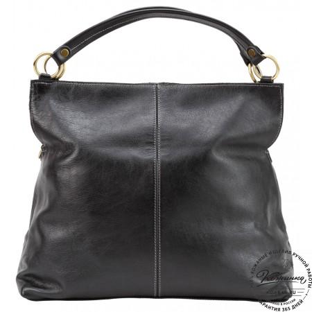 """Женская кожаная сумка """"Торба"""" (чёрная)"""