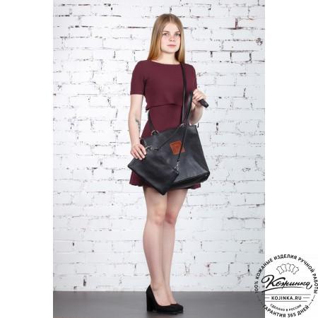 """Женская кожаная сумка-трансформер """"Валентино"""" (черная)"""