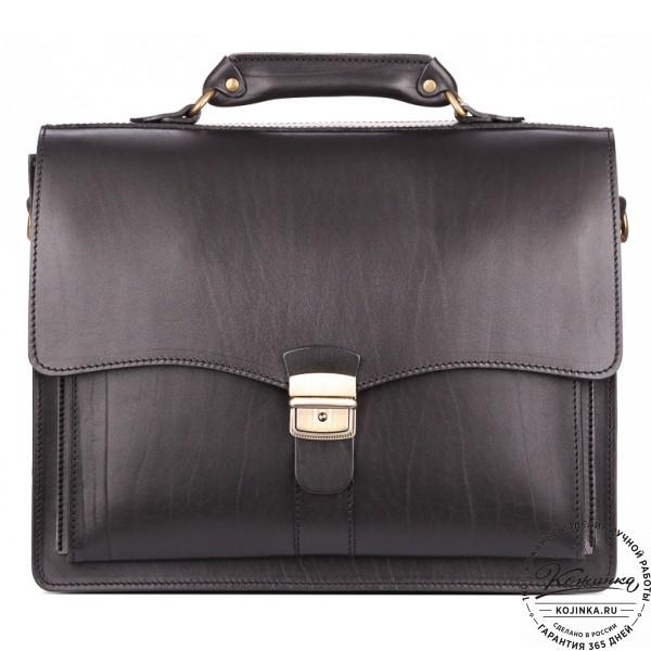 """Кожаный портфель """"Карьерист""""  (чёрный). фото 1"""
