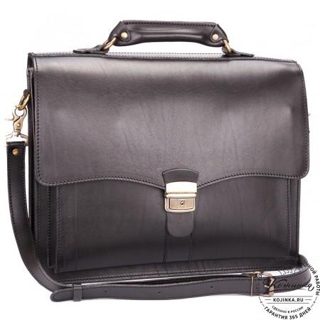 """Кожаный портфель """"Карьерист""""  (чёрный)"""