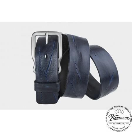 Кожаный ремень AT40-006 (синий)