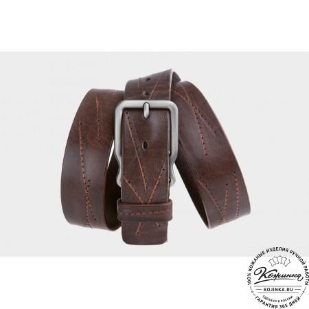 Кожаный ремень AT40-007 (коричневый)