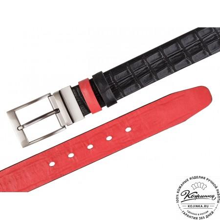 Кожаный двусторонний ремень P40-03 (чёрный/красный)