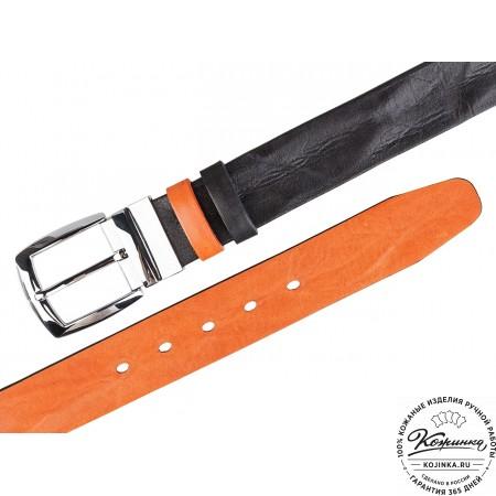 Кожаный двусторонний ремень P40-13 (чёрный/оранжевый)