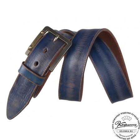 Кожаный ремень AT40-098 (синий)