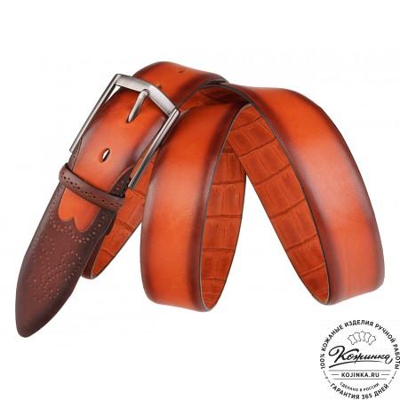 Кожаный ремень SPR35-63 (оранжевый)