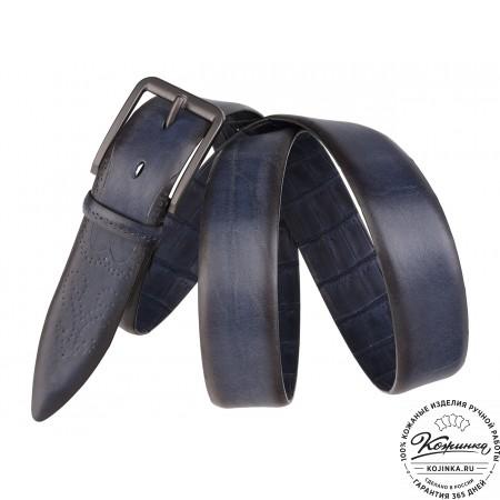 Кожаный ремень SPR35-64 (синий)