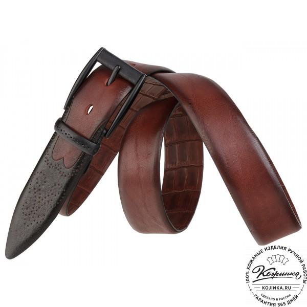 Кожаный ремень SPR35-65 (коричневый). фото 1