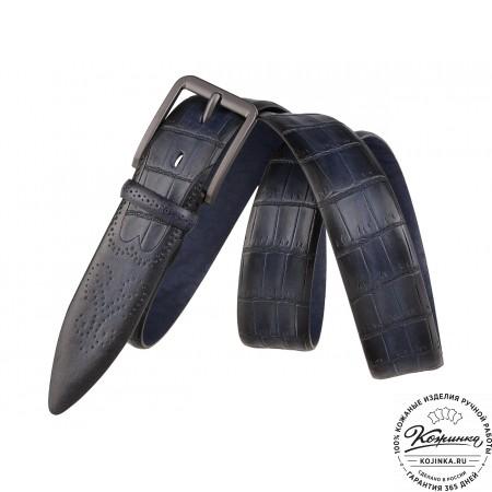 Кожаный ремень SPR35-72 (синий)