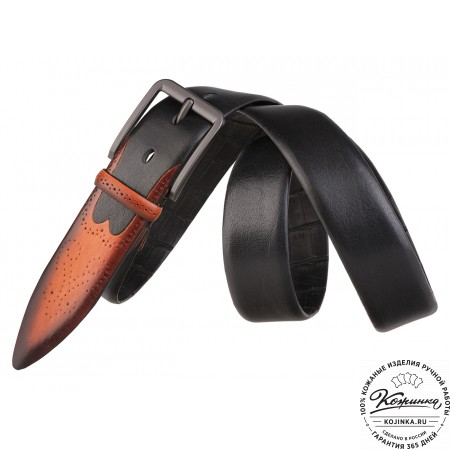 Кожаный ремень SPR35-73 (чёрный)