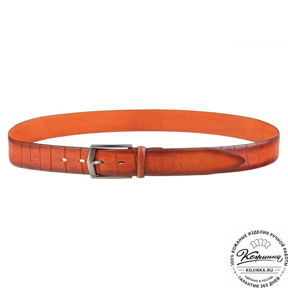 Кожаный ремень SPR35-77 (оранжевый)