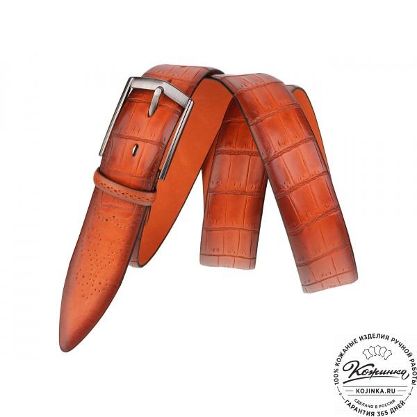 Кожаный ремень SPR35-77 (оранжевый). фото 1