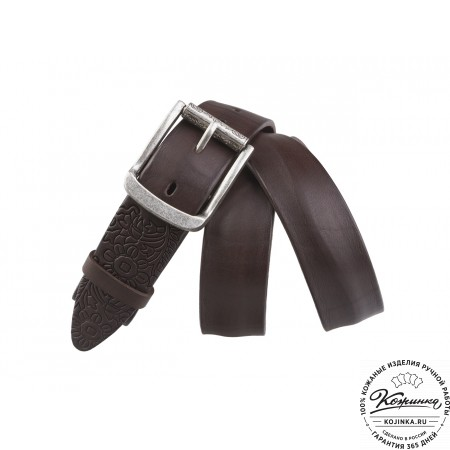 Кожаный ремень B35-49 (коричневый)