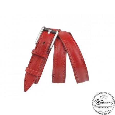 Кожаный ремень B25-58 (красный)
