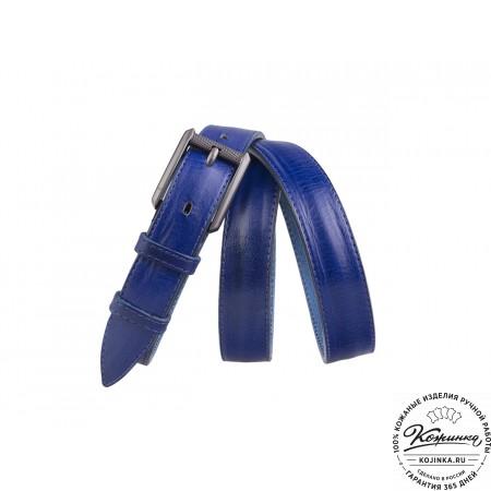 Кожаный ремень B25-78 (синий)