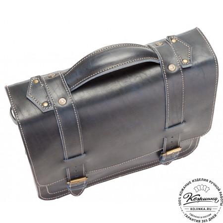 """Кожаный портфель """"Тесла"""" (темно-синий)"""