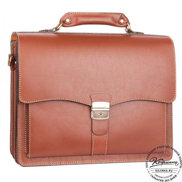 """Кожаный портфель """"Карьерист""""  (коричнево-рыжий). фото 1"""