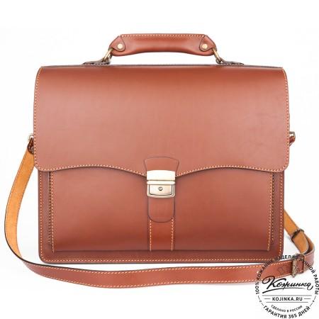 """Кожаный портфель """"Карьерист""""  (коричнево-рыжий)"""