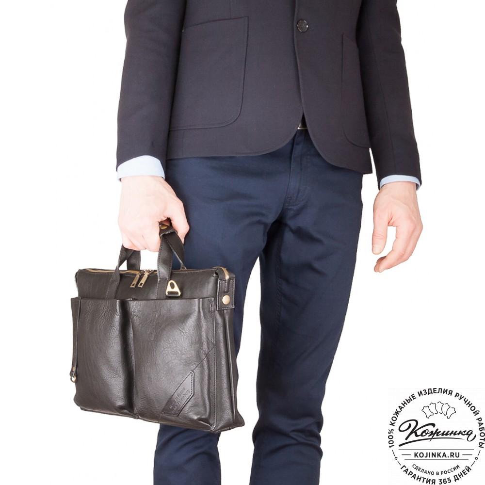 """Кожаная деловая сумка """"Стюарт"""" (черный)"""