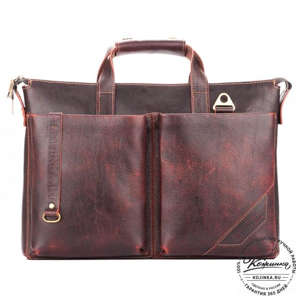 """Кожаная деловая сумка """"Стюарт"""" (эксклюзив вишня). фото 1"""