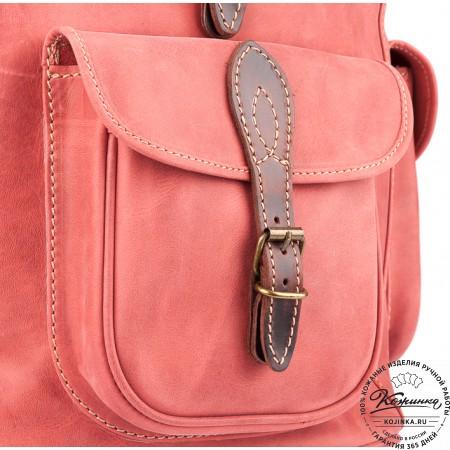 """Кожаный рюкзак """"Мидл"""" (розовый) - 11"""
