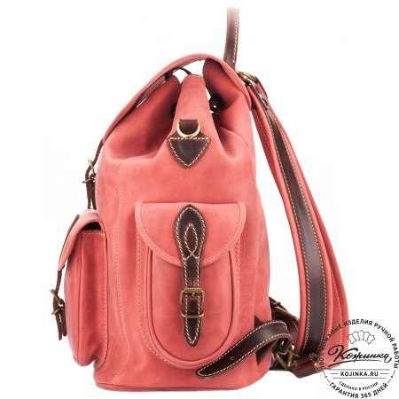 """Кожаный рюкзак """"Мидл"""" (розовый) - 9"""