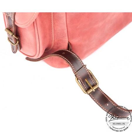 """Кожаный рюкзак """"Мидл"""" (розовый) - 8"""