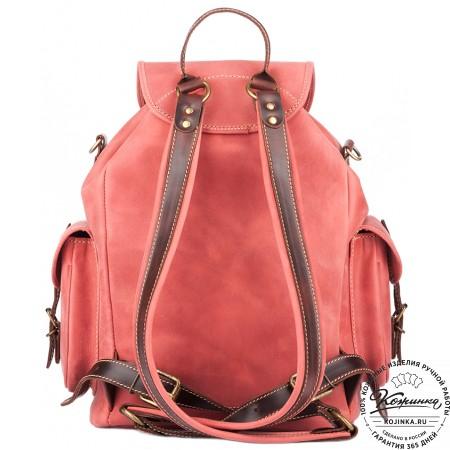 """Кожаный рюкзак """"Мидл"""" (розовый) - 3"""
