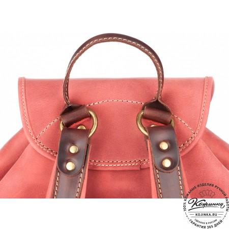 """Кожаный рюкзак """"Мидл"""" (розовый) - 7"""