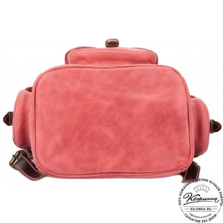 """Кожаный рюкзак """"Мидл"""" (розовый) - 5"""