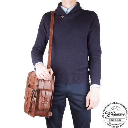 """Кожаный ранец-портфель """"Джон"""" (красно-синий)"""