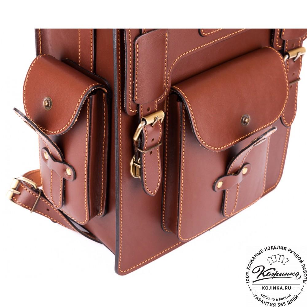 """Кожаный ранец-портфель """"Джон"""" (коричнево-рыжий)"""