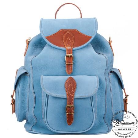 """Кожаный рюкзак """"Мидл"""" (голубой) - 7"""