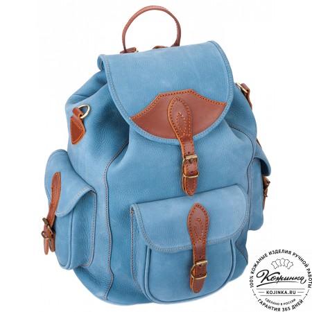 """Кожаный рюкзак """"Мидл"""" (голубой) - 3"""