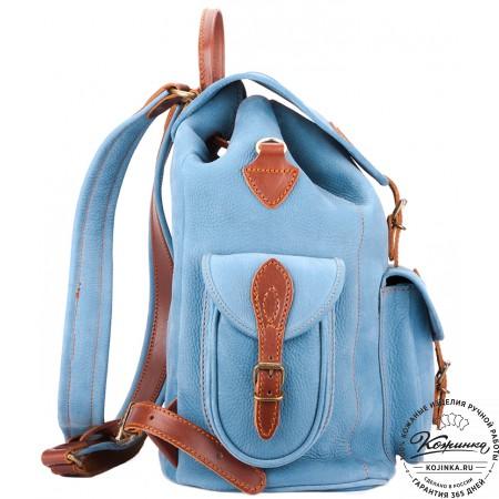 """Кожаный рюкзак """"Мидл"""" (голубой) - 9"""